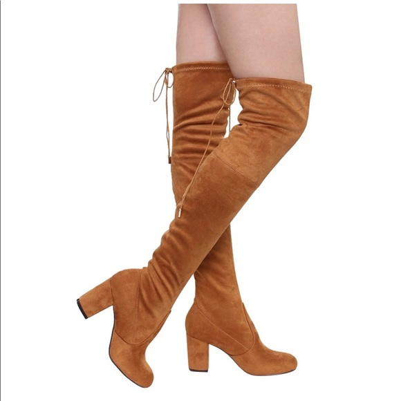 b7a8452d874  NBW NWB  over knee suede camel thick heel boots · Women s Over Knee High  Block Chunky Heel Thigh Heel Faux ...
